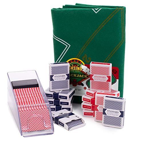 Blackjack Essentials Set – Includes Green Blackjack Tabletop Felt Mat, Blackjack Dealer Shoe + Discard Tray & 12 Decks of Playing Cards – Casino Card Game Pack for Gambling Games & Family Game Night