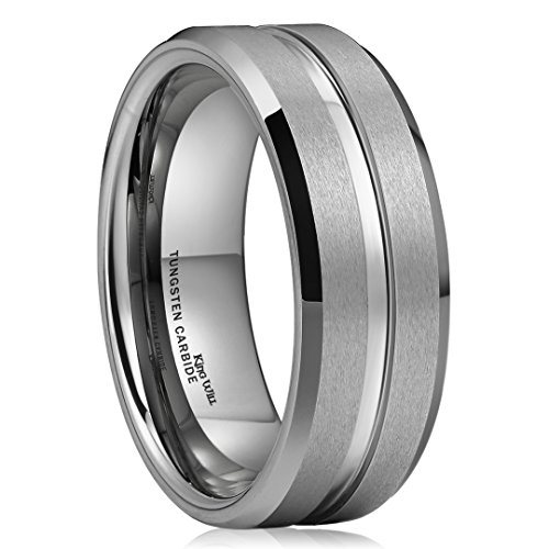 King Will Classic 8mm High Polish/Matte Finish Men's Tungsten Ring Wedding Band Comfort Fit 8.5