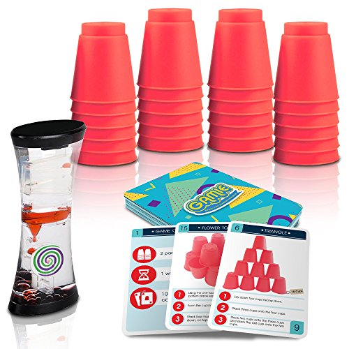 Gamie Stacking Cups Game with 18 Fun Challenges and Water Timer, 24 Stacking Cups, Sturdy Plastic, Classic Family Game, Great Gift Idea for Boys and Girls, Tons of Fun