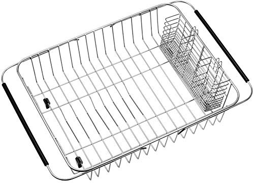 SANNO Dish Drying Rack with Stainless Steel Utensil Holder Large Dish Rack Drainer Drain Expandable Dish Rack Shelf Dish Rack in Sink or Over Sink or On Counter Rustproof Stainless Steel