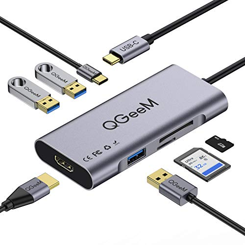 USB C Hub HDMI Adapter,QGeeM 7 in 1 Type C Hub to HDMI 4k,3 USB 3.0 Ports,100W Power Delivery,SD/TF Card Readers Compatible with MacBook Pro 13/15(Thunderbolt 3),2018 Mac Air,Chromebook USB C Adapter