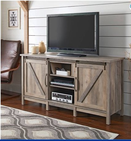 Better Homes and Gardens Modern Farmhouse TV Stand/Entertainment Center for TVs up to 60', Rustic Gray Finish