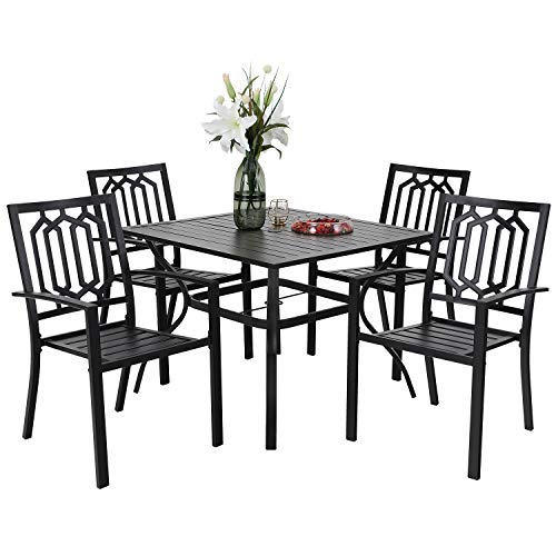 PHIVILLA 5-Piece Metal Patio Outdoor Table and Chairs Dining Set- 37' Square Bistro Table and 4 Backyard Garden Chairs, Table with 1.57' Umbrella Hole