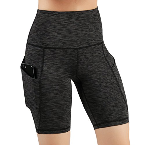 ODODOS High Waist Out Pocket Yoga Short Tummy Control Workout Running Athletic Non See-Through Yoga Shorts,SpaceDyeCharcoal,X-Large