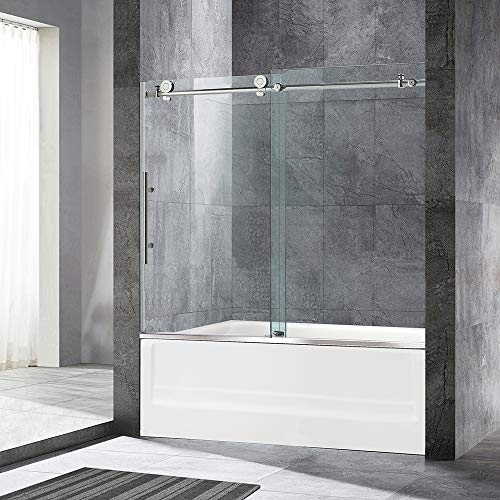 WOODBRIDGE MBSDC6062B Frameless Bathtub Shower Doors 56-60' Width x 62' Height with 3/8'(10mm) Clear Tempered Glass Finish, C-Series: 60'x62' Brushed Nickel