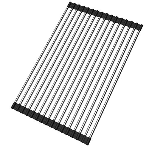 Ahyuan Roll up Dish Drying Rack Over the Sink Kitchen Roll up Sink Drying Rack Portable Dish Rack Dish Drainer Foldable SUS304 Stainless Steel Dish Drying Rack (17.8''x11.2'')