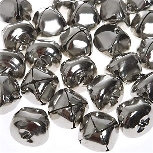 Jingle Bells, 1 Inch Craft Bells Bulk DIY Bells for Christmas Festival Decoration Home Decoration, 50pcs, Silver