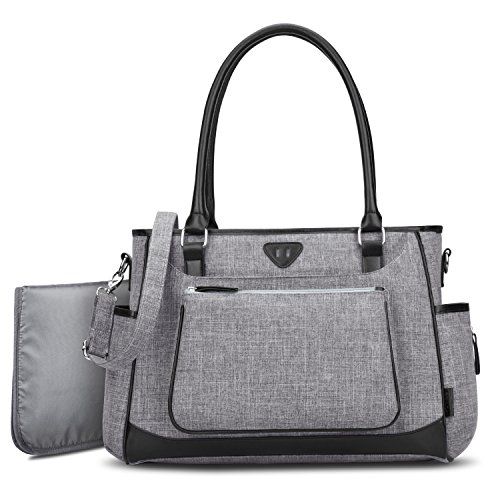 Diaper Tote Bag Organizer,BRINCH Stylish Multi-Function Large Capacity Shoulder Diaper Bag Baby Travel Bag Portable Nappy Bags with Changing Pad,Stroller Straps and Insulated Pocket,Gray
