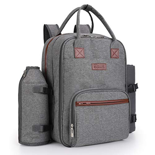 ALLCAMP Picnic Backpack for 2 Person with Detachable Bottle/Wine Holder, Fleece Blanket, Plates and Cutlery Set (Grey)