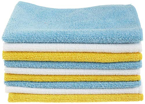 AmazonBasics Blue and Yellow Microfiber Cleaning Cloth, 24-Pack, Assorted colors