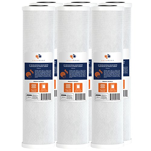 Aquaboon Big Blue Coconut Shell Water Filter Cartridge | Activated Carbon Block CTO | Universal Whole House 5 Micron 20 inch Cartridge | Compatible with EPM-20BB, CB-BB-20, 155783-43, FC25B 6 Pack