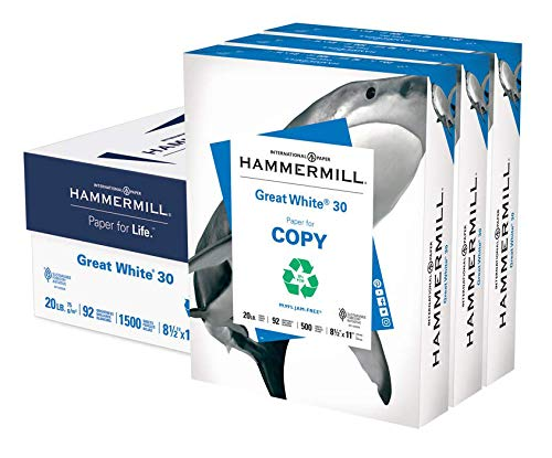 Hammermill Great White 30% Recycled 20lb Copy Paper, 8.5 x 11, 3 Ream Case, 1500 Sheets, Made in USA, Sustainably Sourced From American Family Tree Farms, 92 Bright, Acid Free, Printer Paper, 086820C