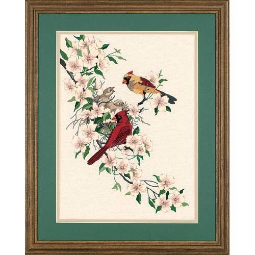 Dimensions Red Cardinal In Dogwood Crewel Embroidery Kit, 11'' W x 15'' H