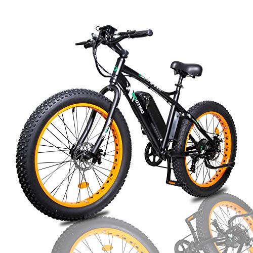 ECOTRIC Fat Tire Electric Bike Beach Snow Bicycle 26' 4.0 inch Fat Tire ebike 500W 36V/13AH Electric Mountain Bicycle with Shimano 7 Speeds Lithium Battery - Black/Orange/Blue (Orange)