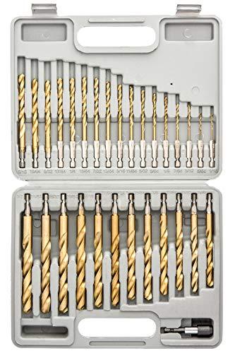 Tooluxe 10055L Titanium Coated Hex Shank Drill Bit Set, 30 Piece | Quick Change Design | 1/16' - 1/2'