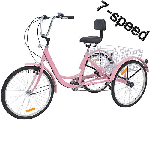 VANELL 7/1 Speed Tricycle Adult 20/24/26 in Trike Cruise Bike 3 Wheeled Bicycle W/Large Size Basket for Women Men Shopping Exercise Recreation (Cool Pink (7Speed), 24inch / 7Speed)