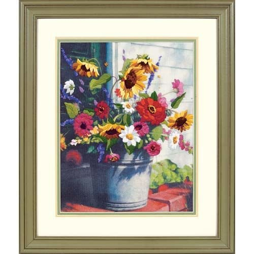Dimensions Bucket of Flowers Crewel Embroidery Kit, 11'' W x 12'' H