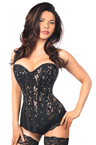 Daisy corsets Top Drawer Black Lace Steel Boned Corset w/Rhinestones