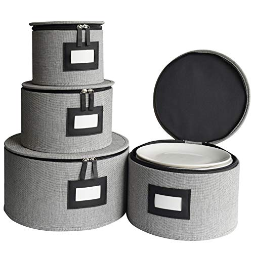 Dinnerware Storage Set, China Dishes Storage Chests for Plates, Protects and Transport Dishes, Felt Plate Dividers Included, Hard Shell and Stackable, Set of 4 (Grey)