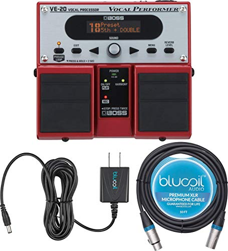 BOSS VE-20 Vocal Processor Multi Effects Pedal Bundle with Blucoil Slim 9V 670ma Power Supply AC Adapter, and 10-FT Balanced XLR Cable