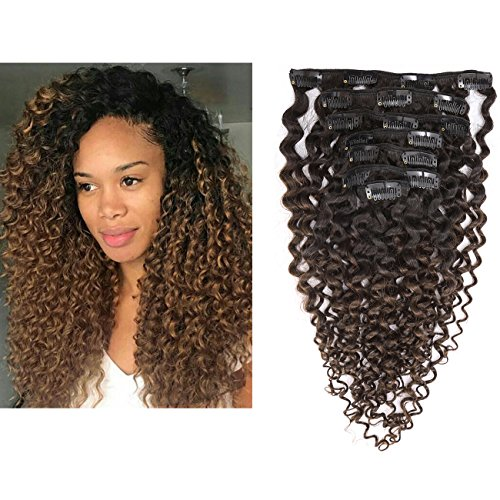 Clip in Human Hair Extensions Afro Jerry Curly 3B 3C Real Hair Clip in Extensions For Black Women Natural Black Color 100% Brazilian African American Hair Extensions (22 inch, Jerry Curly #1B/4)