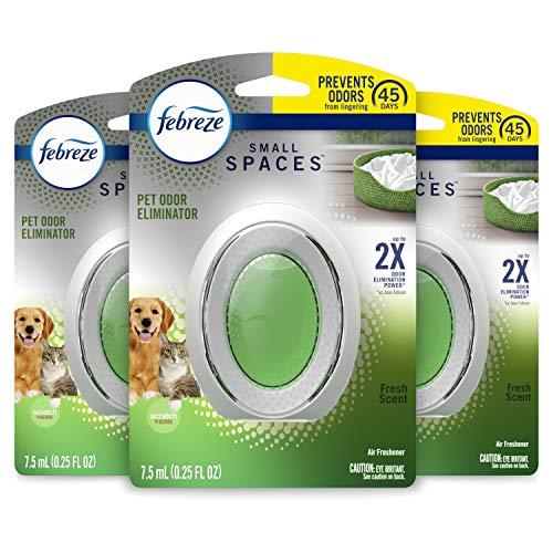 Febreze Small Spaces Pet Air Freshener, Odor Eliminator, Fresh Scent, 3 Count