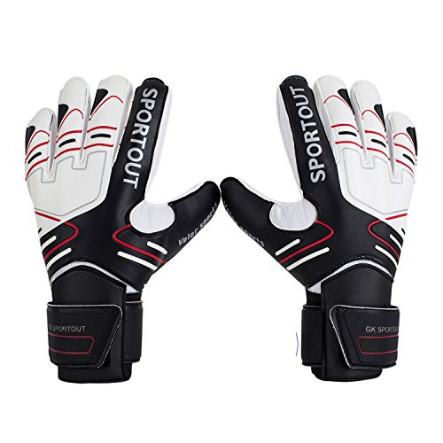 Youth&Adult Goalie Goalkeeper Gloves,Strong Grip for The Toughest Saves, with Finger Spines to Give Splendid Protection to Prevent Injuries,3 Colors (Black, 9)