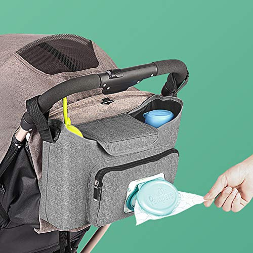 Baby Stroller Organizer - Stroller Accessories Bag Large Space with 2 Cup Holders Multiple Zipper Pockets for Bottle, Diaper, Phone, Toys, Baby Items - Fits All Strollers, Easy Installation