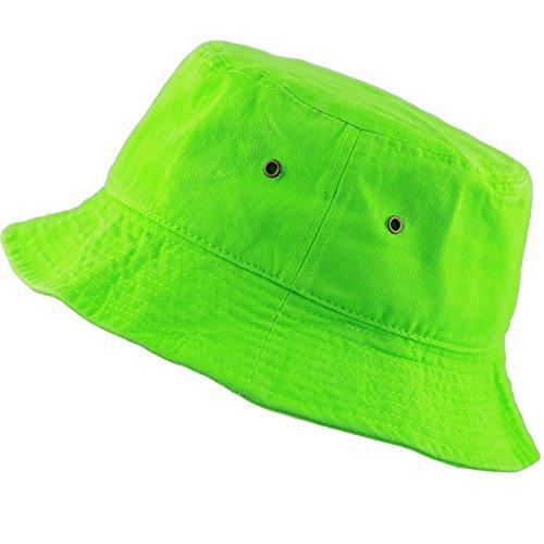 The Hat Depot 300N Unisex 100% Cotton Packable Summer Travel Bucket Hat (L/XL, Neongreen)