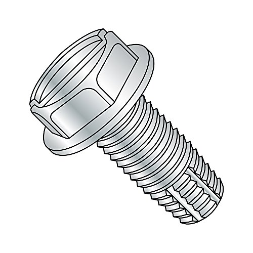 Steel Thread Cutting Screw, Zinc Plated Finish, Hex Washer Head, Slotted Drive, Type F, 5/16'-18 Thread Size, 1' Length (Pack of 25)