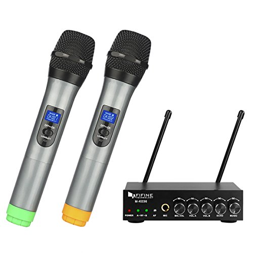 Fifine UHF Dual Channel Wireless Handheld Microphone, Easy-to-use Karaoke Wireless Microphone System-K036