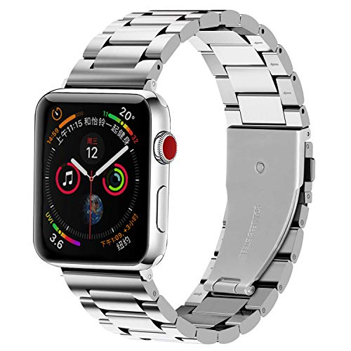 LINKWOW Compatible with Apple Watch Band 38mm 40mm 42mm 44mm Series 5/4/3/2/1 Premium Metal Stainless Steel Replacement Strap Men and Women Solid Business Wristband Bracelet