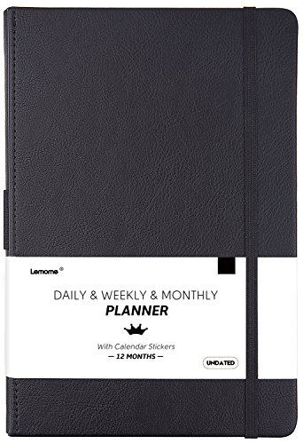 Undated Daily/Monthly Planner + Monthly & Weekly TO-DO List to Improve Productivity, 5.75' x 8.25', Premium Thick Paper, Pen Holder, Inner Pocket, 12 Months, Gift Box