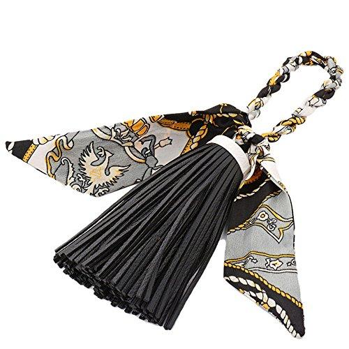 ZOONAI Women Tassel Silk Bowknot Purse Pendant Handbag Bag Hanging Decorations (Black)