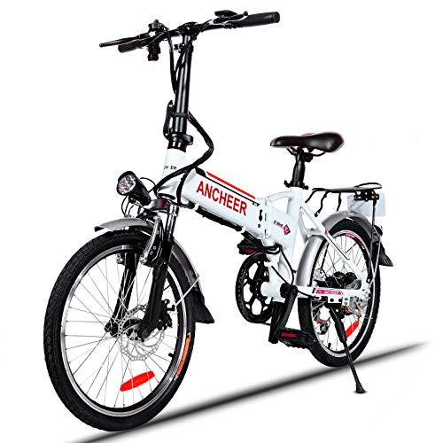 ANCHEER Folding Electric Bike Ebike, 20'' Electric Bicycle with 36V 8Ah Removable Lithium-Ion Battery, 250W Motor and Professional 7 Speed Gears