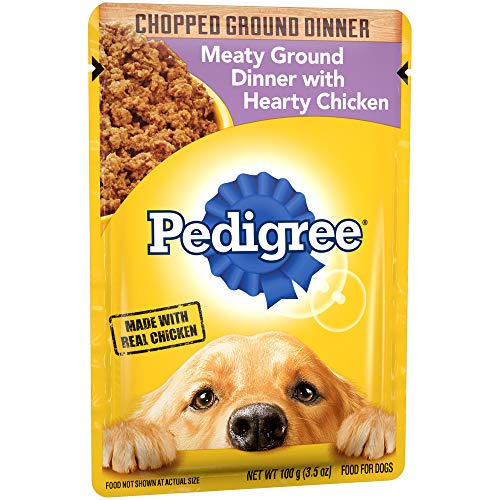 PEDIGREE Chopped Ground Dinner Adult Soft Wet Meaty Dog Food With Hearty Chicken, (16) 3.5 oz. Pouches