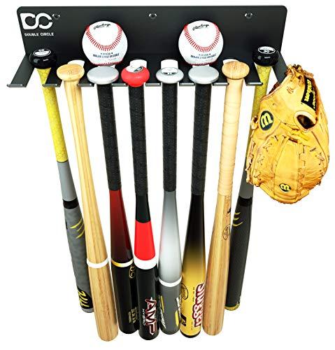 Double Circle Baseball Bat Rack Holds up to 16 Bats; Baseball Bat Holder for Wall Mount; Metal Bat Hanger for Home/Field Storage – Hardware Included; Sports Equipment Organizer, Gloves, Helmets