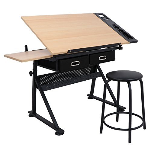 ZENY Height Adjustable Drafting Draft Desk Drawing Table Desk Tiltable Tabletop w/Stool and Storage Drawer for Reading, Writing Art Craft Work Station