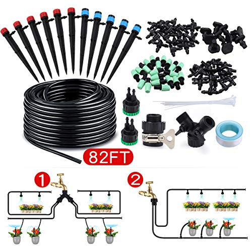 king do way 82Ft/25M Drip Irrigation Kits Garden Watering System with Y Valve,20 Misting Nozzles 10 Drip Emitters 10 Dripper DIY Mist Cooling Irrigation System for Greenhouse, Patio, Lawn