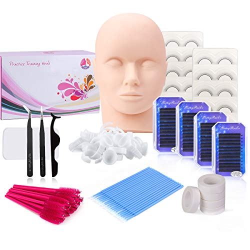Eyelash Extension kit, MYSWEETY False Eyelashes Extensions Practice Tool Set & Practice Training Mannequin Head Model for Cosmetology Makeup Training Eye Lashes Graft