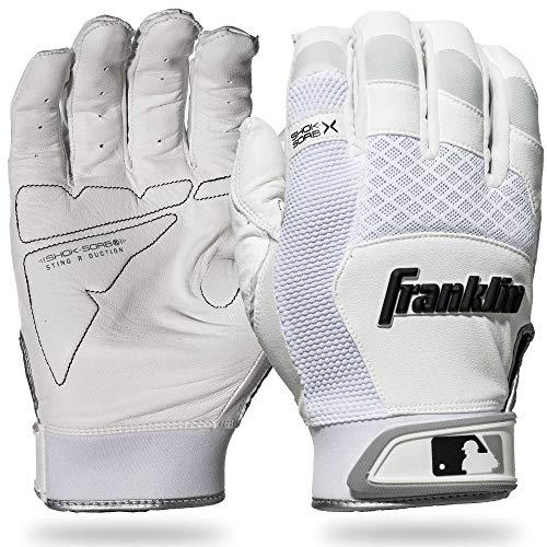 Franklin Sports 20965F2 Shok-Sorb X Batting Gloves, White/White, Adult Medium
