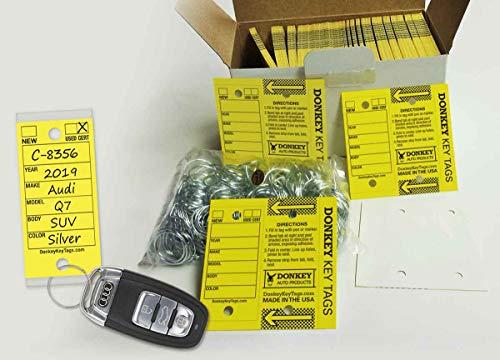 Donkey Key Tags, Laminated Self-Protecting (250 Tags Per Box with Metal Rings) (Yellow)