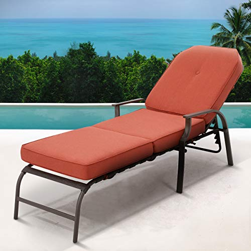 U-MAX Adjustable Outdoor Chaise Lounge Chair Patio Lounge Chair Recliner Furniture with Armrest and Cushion for Deck, Poolside, Backyard (Orange)