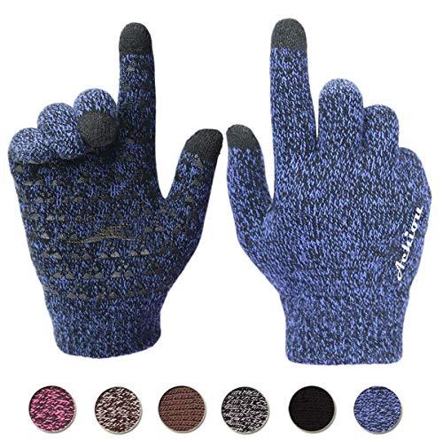 Achiou Winter Warm Touchscreen Gloves for Women Men Knit Wool Lined Texting (Blue, M)