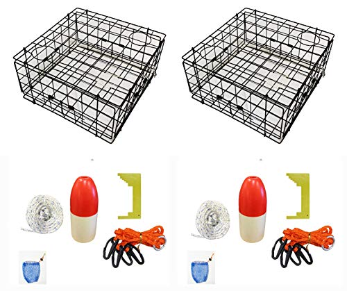 KUFA Vinyl Coated Crab Trap Accessory Kit (100' Non-Lead Sinking Line, Clipper, Bait Bag 14' Float) (2 Pack)