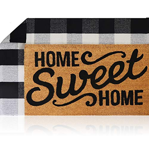 Sierra Concepts Pure Coco Coir Front Door Welcome Mat Outdoor Rug 30'x17' + Buffalo Plaid Rug Checkered Layered Black and White Floor Combo Set - Non Slip Entryway Indoor Outdoors Mats Home Sweet Home