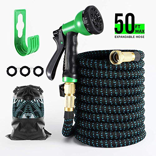 BOSNELL Expandable Garden Hose, Durable Water Hose, 8 Function Spray Nozzle, 3/4' Solid Brass Connectors, Lightweight Expanding Hose