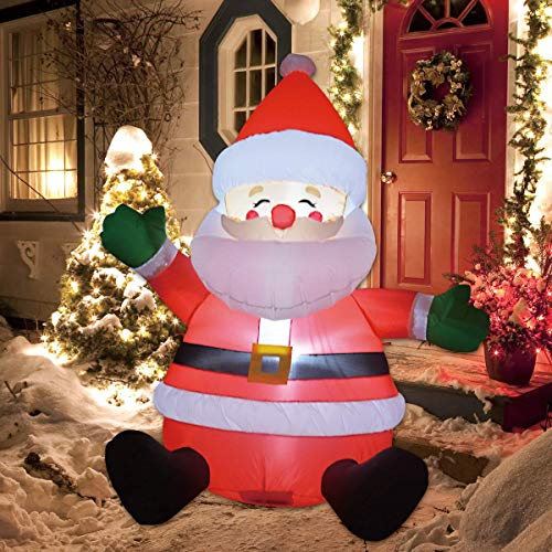 GOOSH 5 FT Christmas Inflatable Santa Claus LED Lights Indoor Outdoor Yard Lawn Decoration - Cute Fun Xmas Holiday Blow Up Party Display