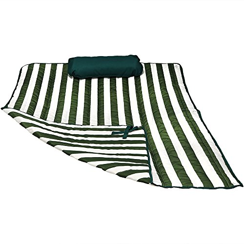 Sunnydaze Hammock Pad and Pillow Set Only - Polyester Quilted Hammock Cushion Pad and Hammock Pillow with Ties - Outdoor Weather-Resistant - Green/White Stripe