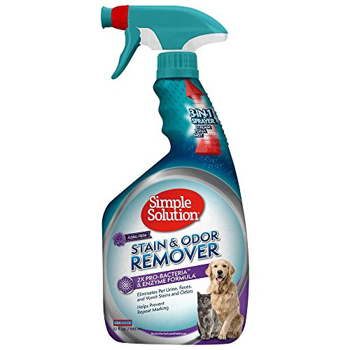 Simple Solution Pet Stain and Odor Remover | Enzymatic Cleaner with 2X Pro-Bacteria Cleaning Power | Floral Fresh, 32 Ounces
